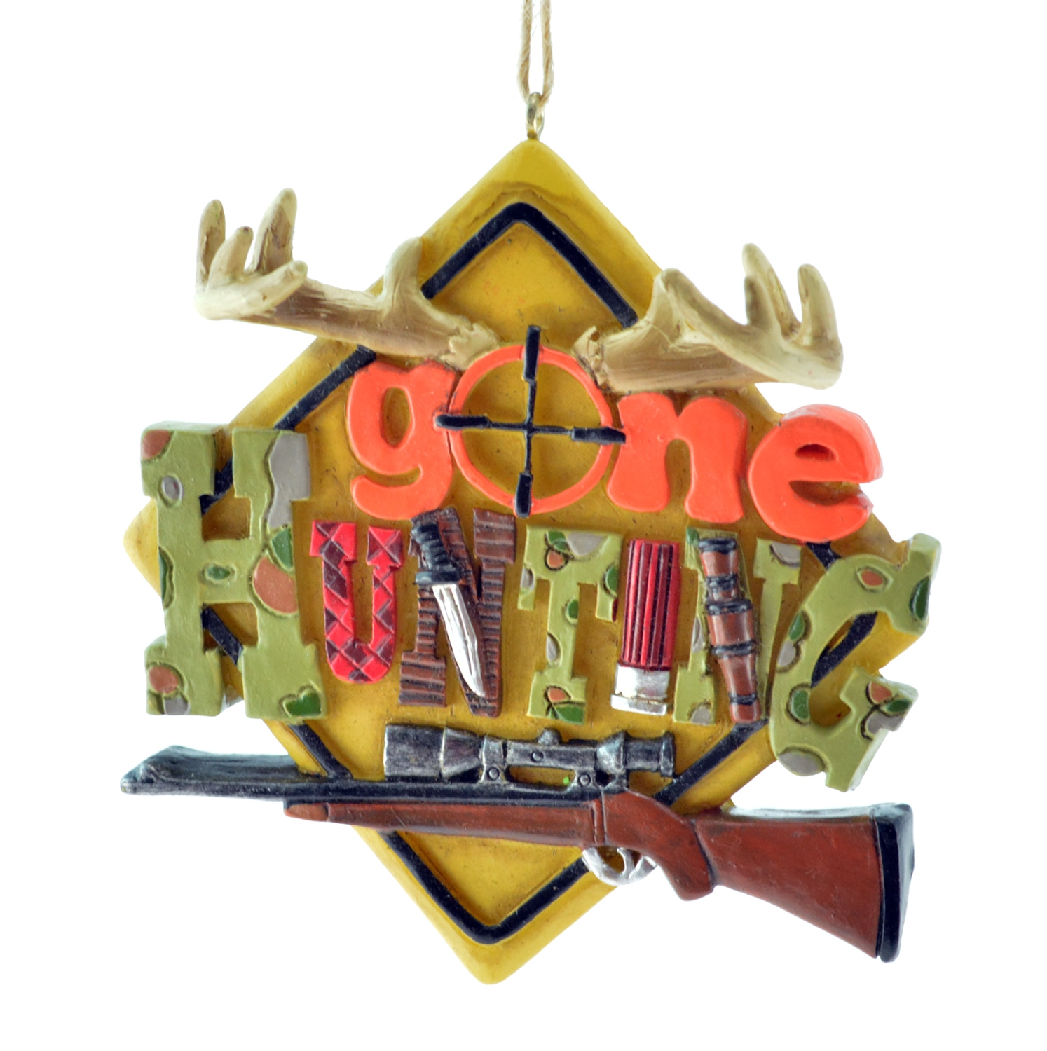 Gone Hunting Sign Christmas Holiday Ornament 3.5 Inches