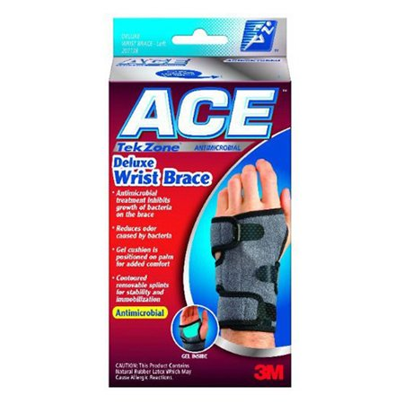 - Ace Tekzone Deluxe Antimicrobial Wrist Brace, Left, Size: Small Or Medium - 1 Ea