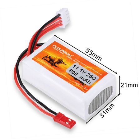 floureon 3S 11.1V 800mAh 25C Li-Polymer RC Battery Pack with JST Plug for RC Airplane RC Helicopter RC Car Truck RC Boat