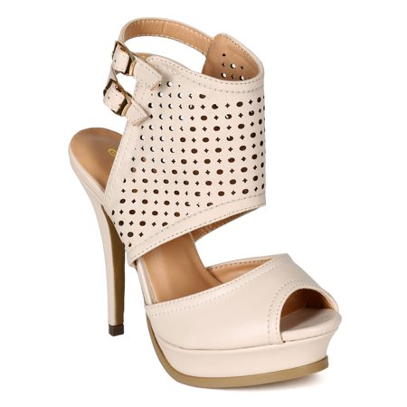 Glaze BI04 Women Nubuck Peep-Toe Cut Out Slingback Platform Stiletto Sandal