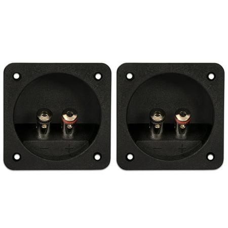2 Goldwood Sound RGT-6000 Square Power Terminal Plates Silver Post Speaker Terminals