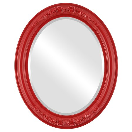 The Oval and Round Mirror Store Florence Framed Oval Mirror in Holiday Red