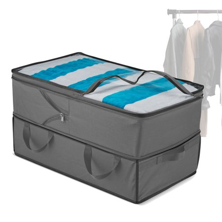 Expandable Storage Bags - 2 in 1 Jumbo & Underbed Storage, Durable Handles, Large Capacity Clothes Storage, Clear Window, Dorm Room Organization & Storage for Comforters, (Black, 1 Bag) Jumbo Underbed Bag