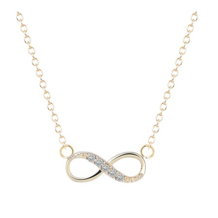 Stainless Steel Infinity Love Charm Womens Beauty Jewelry Durable Necklace Gift (Gold) ()