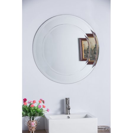 Bellaterra Home Round Frameless Bathroom Vanity Wall Mirror