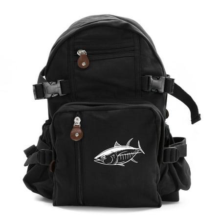 Big Tuna Fish Army  Heavyweight Canvas Backpack Bag