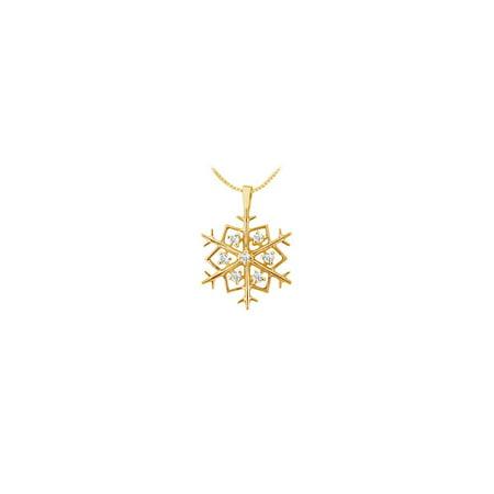 Diamond Flower Pendant 14K Yellow Gold 0.25 CT Diamonds - image 2 of 2