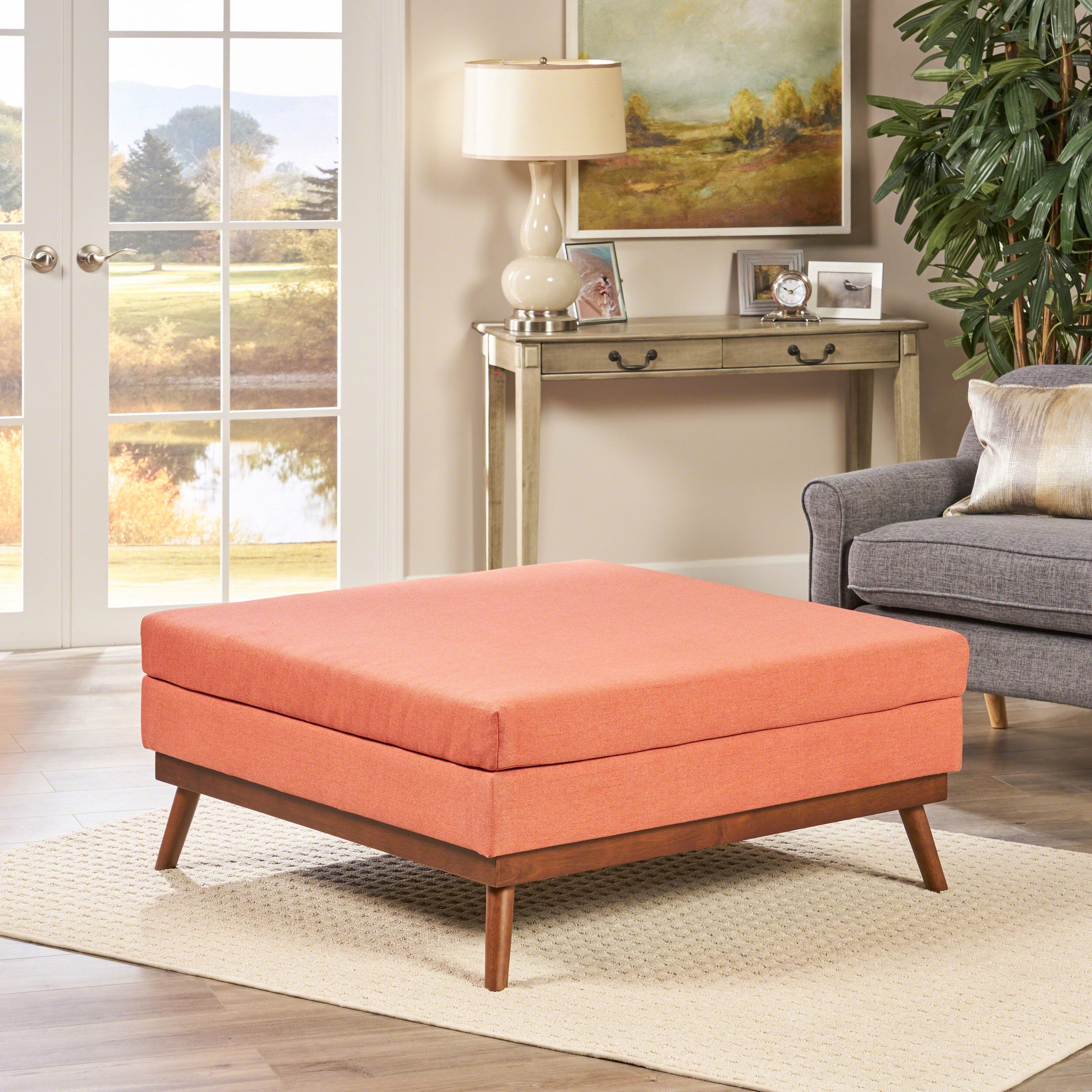 Noble House Mid Century Fabric Ottoman, Coral