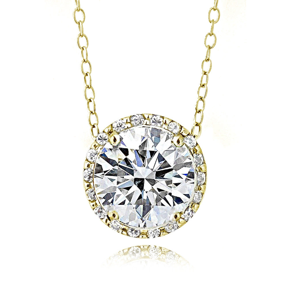 Gold Tone over Sterling Silver 100 Facets Cubic Zirconia Halo Necklace (3cttw)
