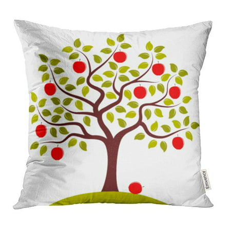 CMFUN Green Branch Apple Tree White Red Agriculture Autumn Farm Foliage Food Fruit Pillowcase Cushion Cover 16x16 inch