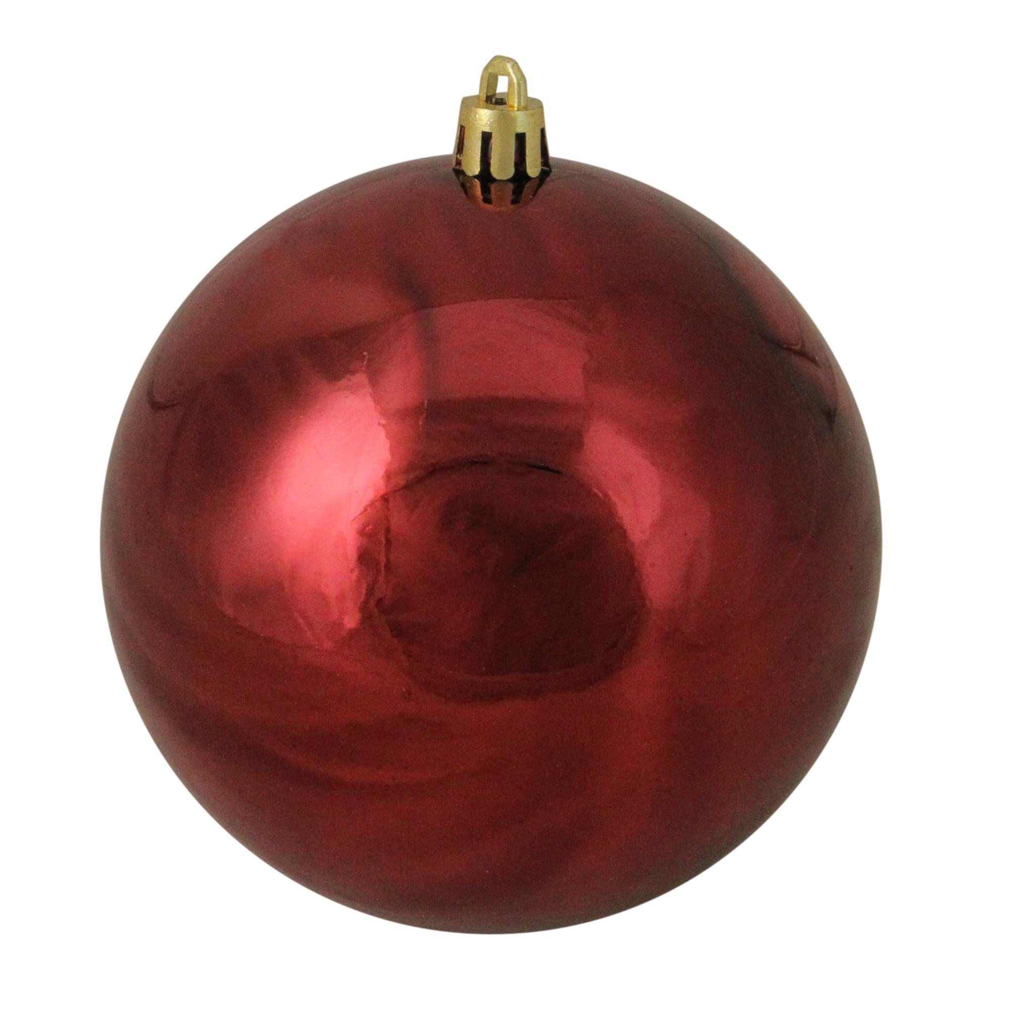 Christmas Ball Ornaments.Burgundy Red Shatterproof Shiny Christmas Ball Ornament 4 100mm