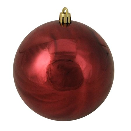Burgundy Red Shatterproof Shiny Christmas Ball Ornament 4