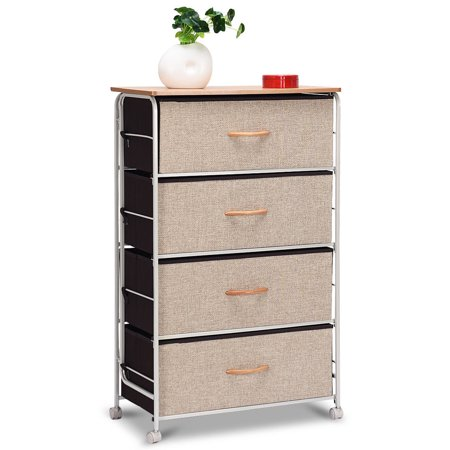 Side Storage Unit (Costway 4-Drawer Fabric Storage Organizer Unit Side Table Dresser Cabinet W/Wheels)