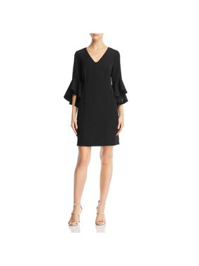 Laundry by Shelli Segal Womens Ruffle Sleeve Crepe Cocktail Dress