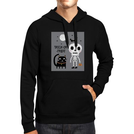 Trick-Or-Treat Skeleton Black Cat Halloween Costume Hoodie Black