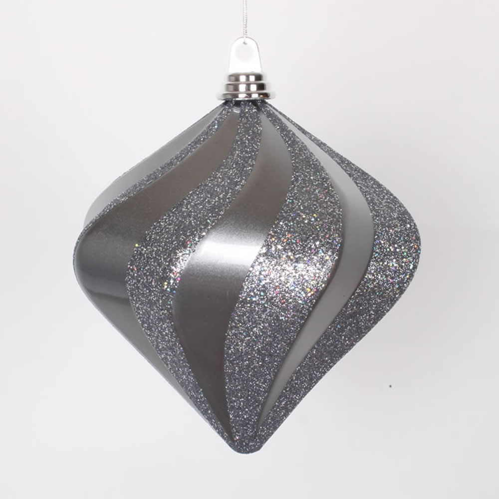 Pewter Gray Candy Glitter Swirl Diamond Shaped Christmas Ornament 8""