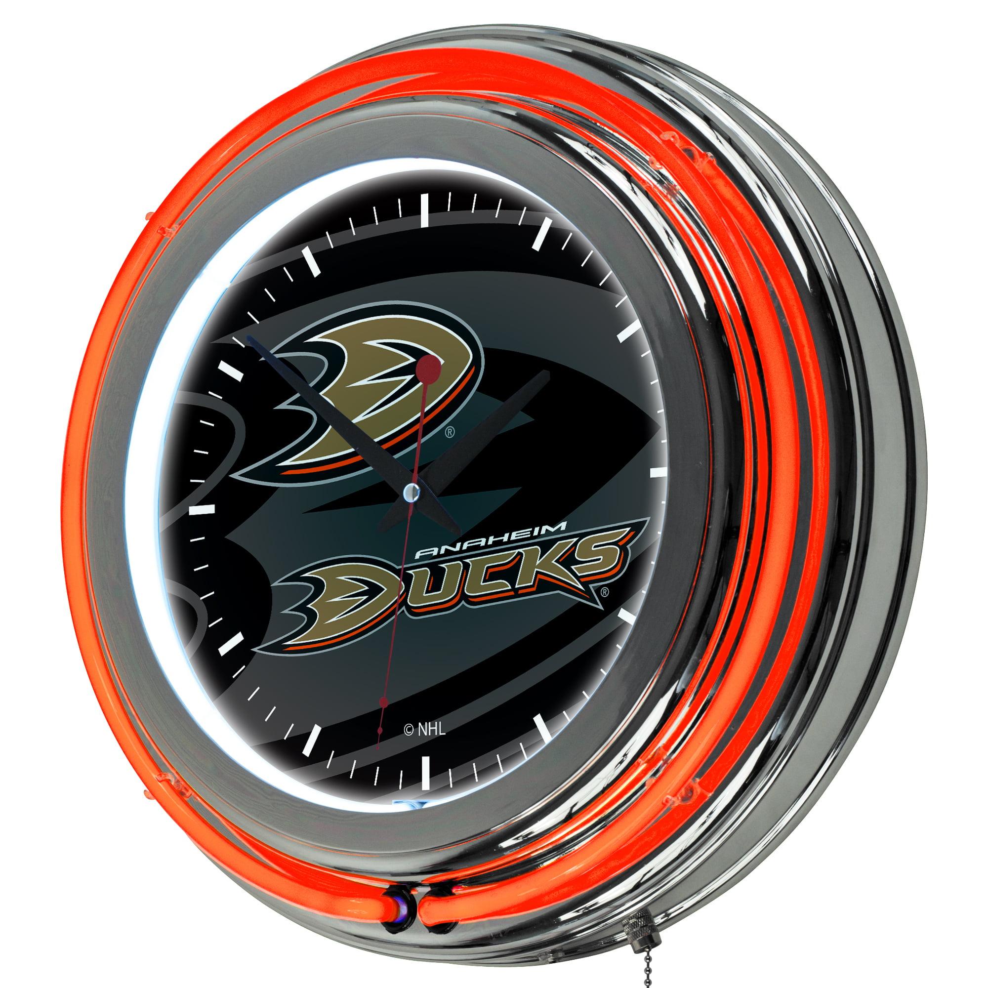 NHL Chrome Double Rung Neon Clock - Watermark - Anaheim Ducks