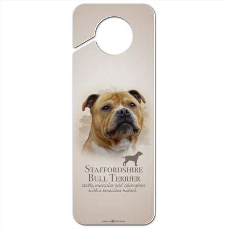 Staffordshire Bull Terrier Dog Breed Plastic Door Knob Hanger Sign Terrier Door Hanger