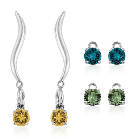 Platinum Plated Brass Interchangebale Stud Dangle Drop Earrings Made with SWAROVSKI Multi Color Crystal (Brass Knuckles Dangle)