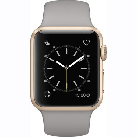 c7570fe5e Refurbished Watch Series 1 38mm Apple Gold Aluminum Case Concrete Sport Band  MNNJ2LL A - Walmart.com