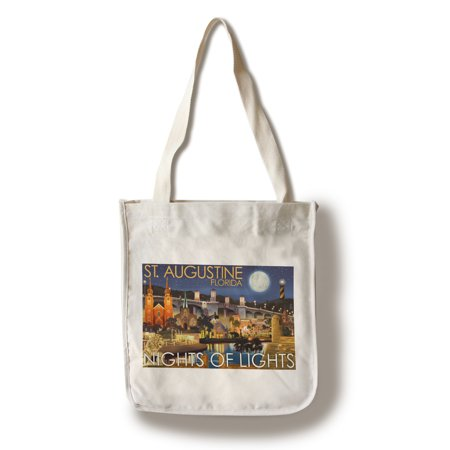 St. Augustine, Florida - Nights of Lights - Night Scene - Lantern Press Artwork (100% Cotton Tote Bag - Reusable)