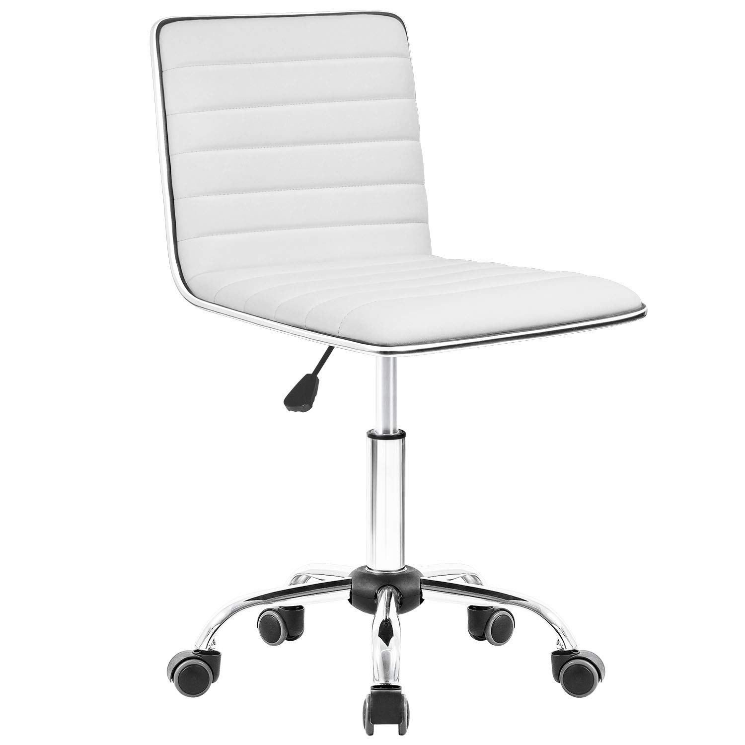 Walnew Task Chair Desk Chair Mid Back Armless Vanity Chair Swivel Office Rolling Leather Computer Chairs Ribbed Adjustable Conference Chair White Walmart Com Walmart Com