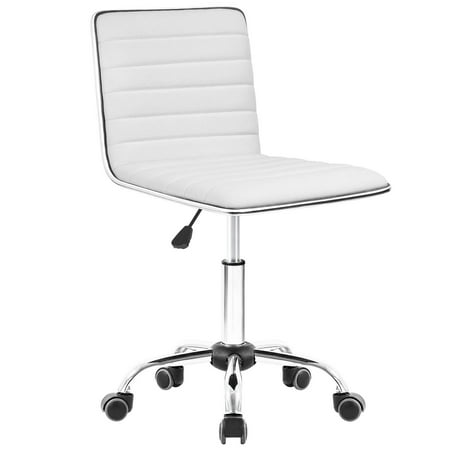 Walnew Task Chair Desk Chair, Mid Back Armless Vanity Chair Swivel Office Rolling Leather Computer Chairs Ribbed Adjustable Conference Chair (White) (Swivel Desk Chair Leather)