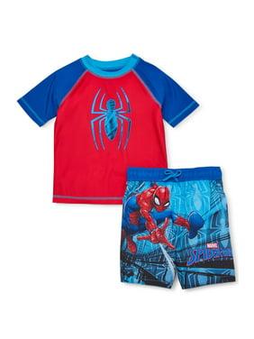 Spider-Man Toddler Boy Rash Guard & Swim Trunks, 2 piece set, UPF 50+