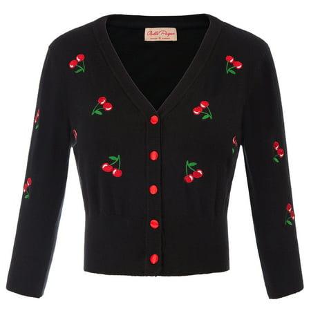 Vintage Red Vintage Cardigan - Women's Vintage Button Down Long Sleeve V-Neck Soft Knit Sweater Cardigan
