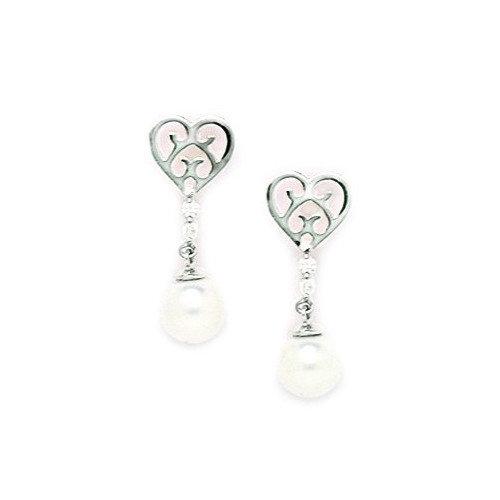 Jewelryweb Heart Genuine Pearl Drop Earrings