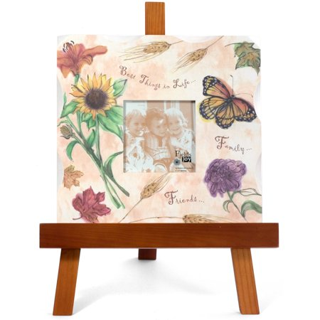 Pavilion- Best Things in life Family and Friends 4x4 Orange Fall Flower Butterfly Picture Frame with Wooden Easel ()