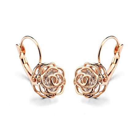 Rose Is A Rose  Earrings 18kt Rose Crystals In White Yellow And Rose Gold Plating (Liquid Gold Plating)