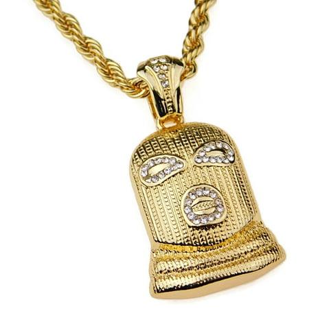 "Mens Goon Chain Gold Finish Ski Mask Man Pendant Hip Hop Necklace 24"" Inch"