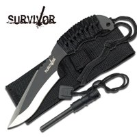 Survivor USA Design Firesteel & Knife Combo Survival Fire Starter Set