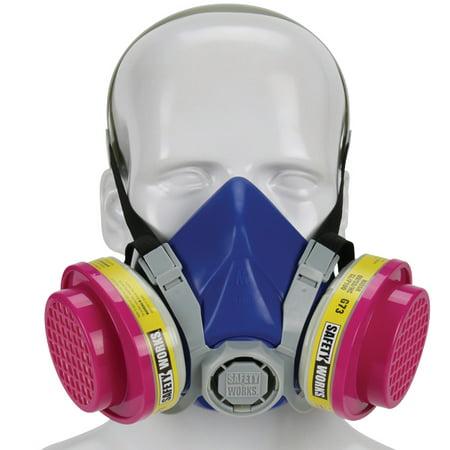Safety Works Half-Mask P100 Multi-Purpose Respirator, Medium