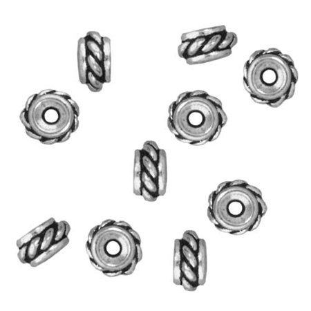 Fine Silver Plated Pewter Twisted Hole Spacer Beads 6mm (10)