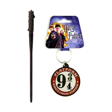 Novelty Writing Utensils and Novelty Character Accessories Magic Apprentice Magic Light-Up Wand Pen, Color May Vary and Disney Harry Potter Platform 9 3/4 Kings Cross Station Key Chain - Cross Key Chains