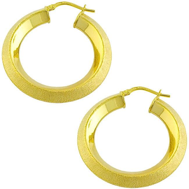18k over Silver Triangular Hoop Earrings