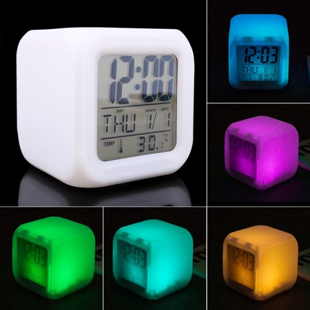 TSV LED 7 Colors Digital Change Alarm Clock Time Snooze Thermometer Light Calendar