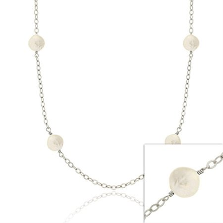 Sterling Silver Iridescent Genuine Freshwater Cultured Round White Coin Pearl leaf link Long Necklace 30""