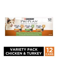 (12 Pack) Purina Pro Plan Gravy Wet Cat Food Variety Pack, Chicken & Turkey Favorites, 3 oz. Cans