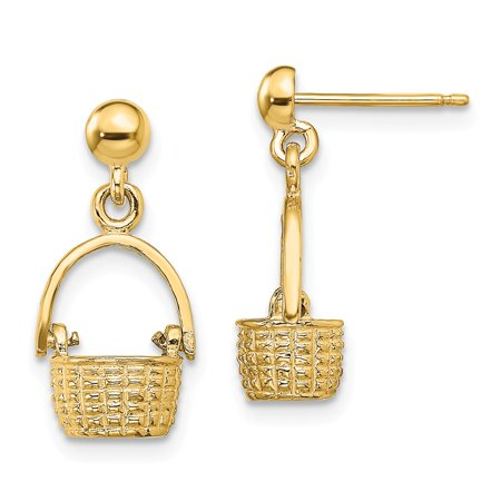 Solid 14k Yellow Gold 3-D BASKET / MOVEABLE HANDLE DANGLE EARRINGS - 19mm x 9mm