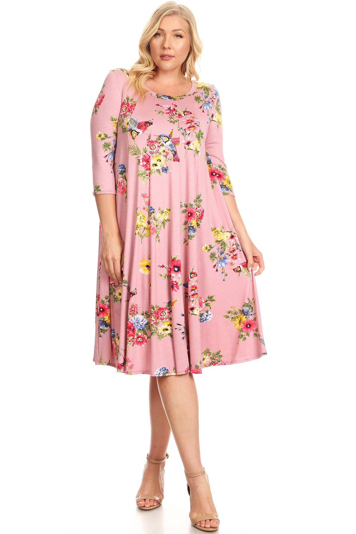 Plus Size Women's 3/4 Sleeve Printed Midi Dress