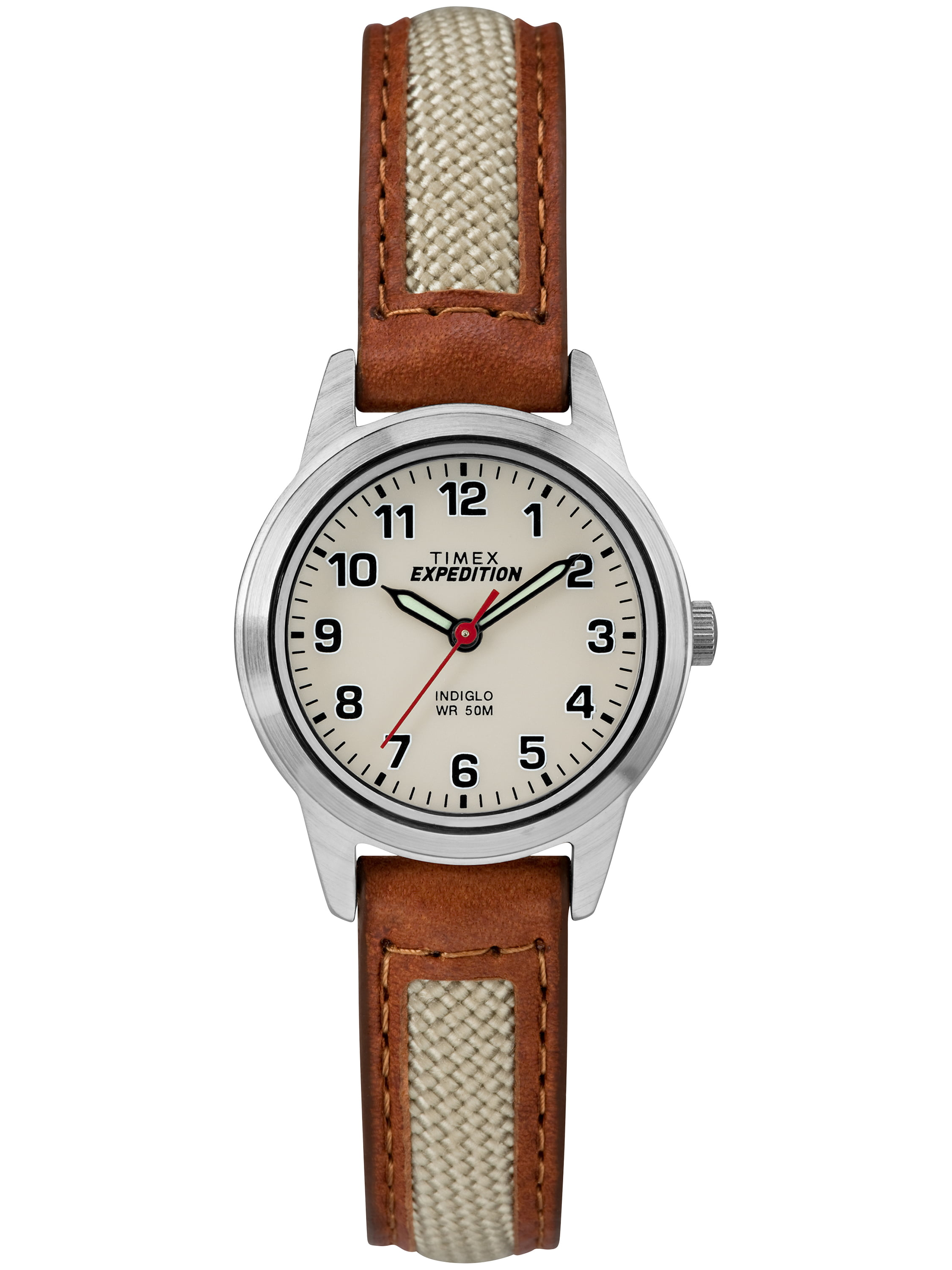 Timex Women's Expedition Field Mini Brown Natural Watch, Nylon Leather Strap by Timex