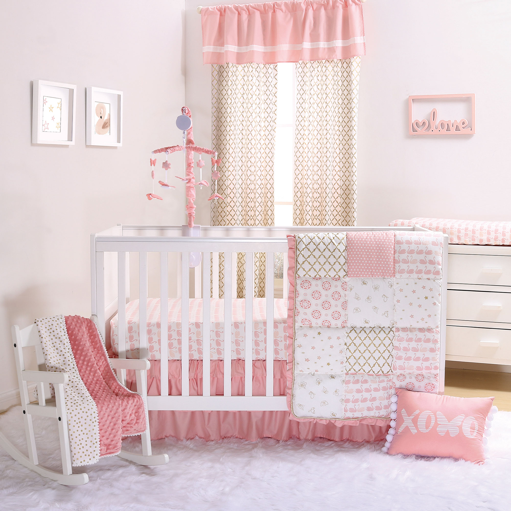 Sweet Swan Coral Pink and Gold Baby Girl Crib Bedding - 11 Piece Sleep Essentials Set