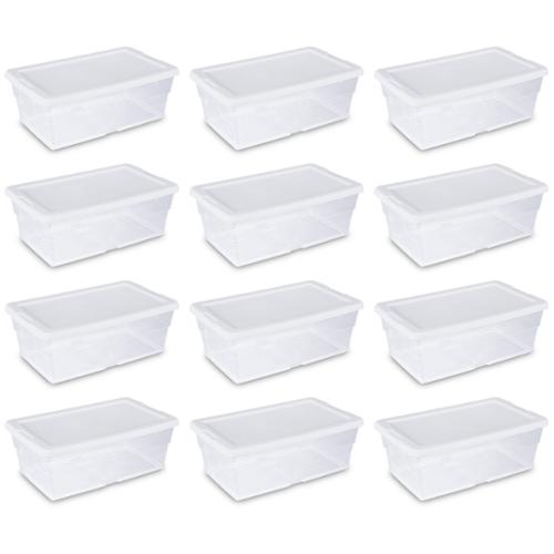 12) Sterilite 16428012 6 Quart Storage Tote Shoe Box Containers Clear Closet Tub