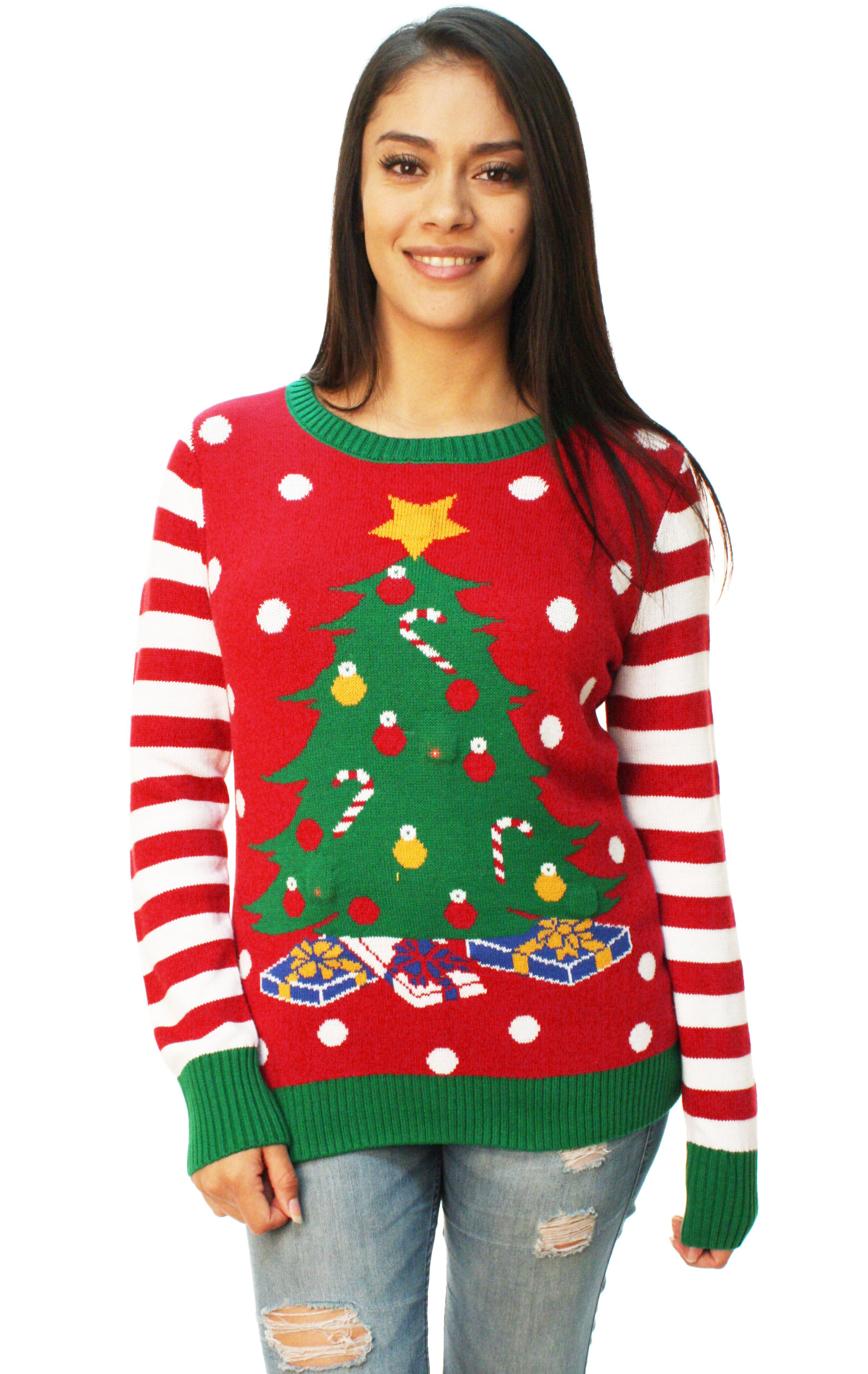 Ugly Christmas Sweater Women\u0027s Christmas Tree LED Light Up Sweater