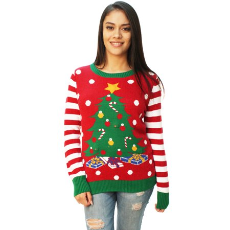 e3fdf7e049a8d Ugly Christmas Sweater - Ugly Christmas Sweater Women s Christmas Tree LED  Light Up Sweater - Walmart.com
