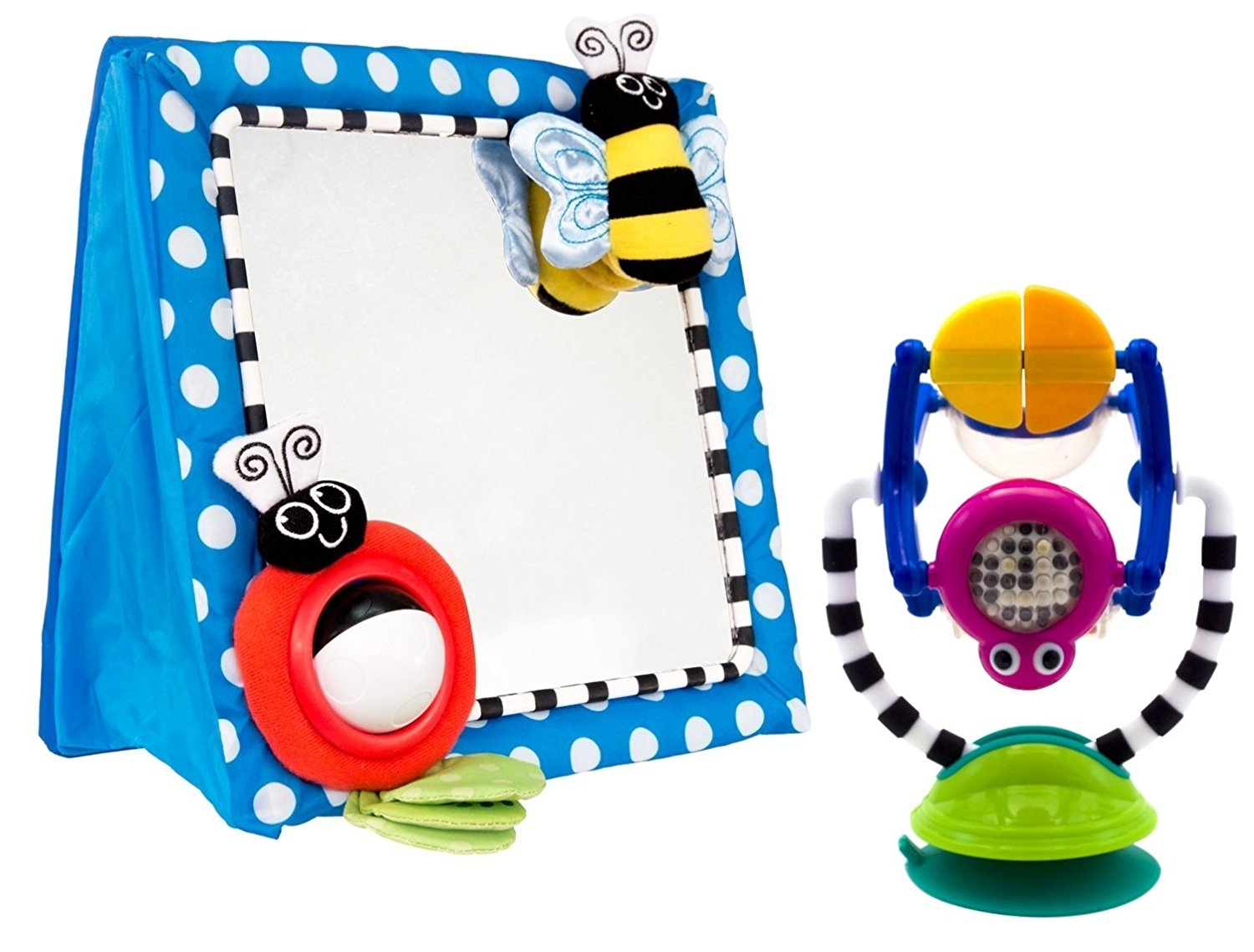 Floor Mirror with Sensation Station Activity Toy, Large Tru-Reflection Mirror engages baby's developing... by Sassy