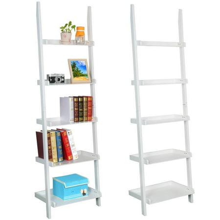 Yaheetech Living Room Wooden 70 Inch 5 Tier Leaning Ladder Shelf Bookcase Bookshelf Stylish